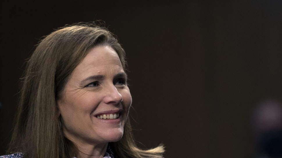 WASHINGTON, DC - OCTOBER 14: Supreme Court nominee Amy Coney Barrett testifies before the Senate Judiciary Committee on the third day of her confirmation hearings on Capitol Hill on October 14, 2020 in Washington, DC. Barrett was nominated by President Donald Trump to fill the vacancy left by Justice Ruth Bader Ginsburg who passed away in September.