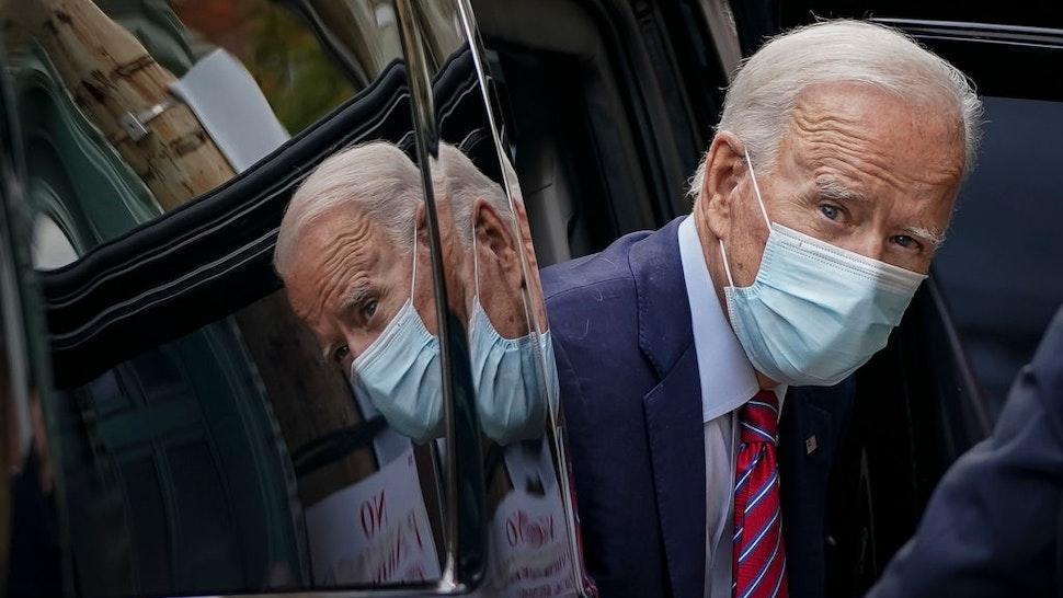 Democratic presidential nominee Joe Biden arrives at The Queen theater on October 19, 2020 in Wilmington, Delaware.