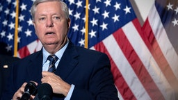 Chairman of the Judiciary Committee Sen. Lindsey Graham (R-SC) speaks during a news conference regarding court packing on Capitol Hill on October 21, 2020 in Washington, DC.
