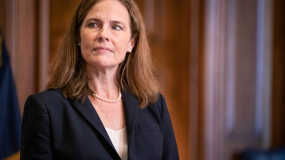 Supreme Court nominee Judge Amy Coney Barrett meets with U.S. Sen. James Lankford (R-OK) on October 21, 2020 in Washington, DC.