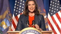 In this screenshot from the DNCC's livestream of the 2020 Democratic National Convention, Michigan Gov. Gretchen Whitmer addresses the virtual convention on August 17, 2020.