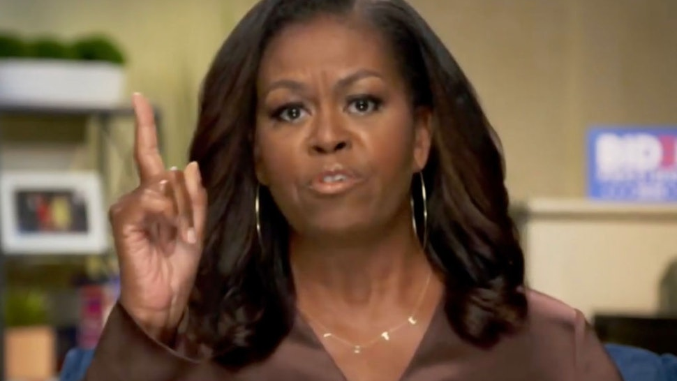 In this screenshot from the DNCC's livestream of the 2020 Democratic National Convention, Former First Lady Michelle Obama addresses the virtual convention on August 17, 2020.