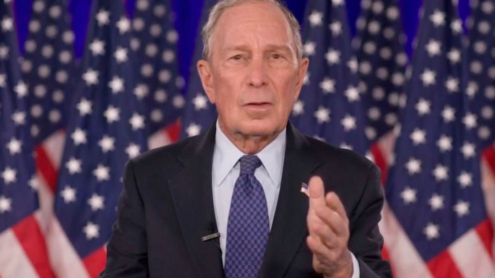In this screenshot from the DNCC's livestream of the 2020 Democratic National Convention, former New York Mayor Michael Bloomberg addresses the virtual convention on August 20, 2020.