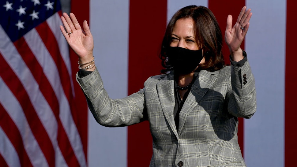 Democratic U.S. Vice Presidential nominee Sen. Kamala Harris (D-CA) waves as she arrives at a voter mobilization drive-in event at UNLV on October 2, 2020 in Las Vegas, Nevada.