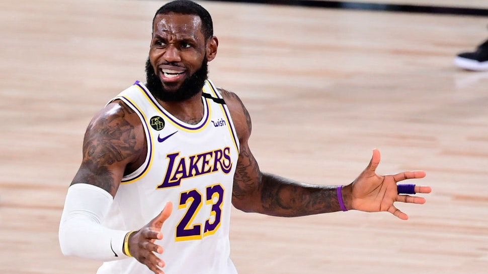 LeBron James #23 of the Los Angeles Lakers reacts to a call during the second half against the Miami Heat in Game Three of the 2020 NBA Finals at AdventHealth Arena at ESPN Wide World Of Sports Complex on October 04, 2020 in Lake Buena Vista, Florida.