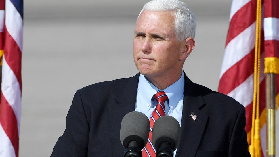 Vice President Mike Pence speaks at a rally at the Boulder City Airport on October 8, 2020 in Boulder City, Nevada.