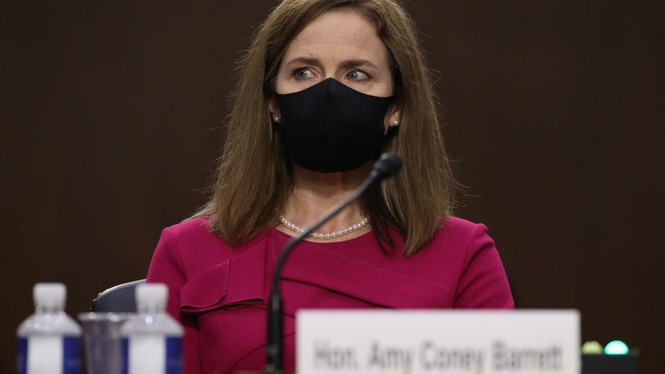 Supreme Court nominee Judge Amy Coney Barrett attends her Senate Judiciary Committee confirmation hearing on Capitol Hill on October 12, 2020 in Washington, DC.