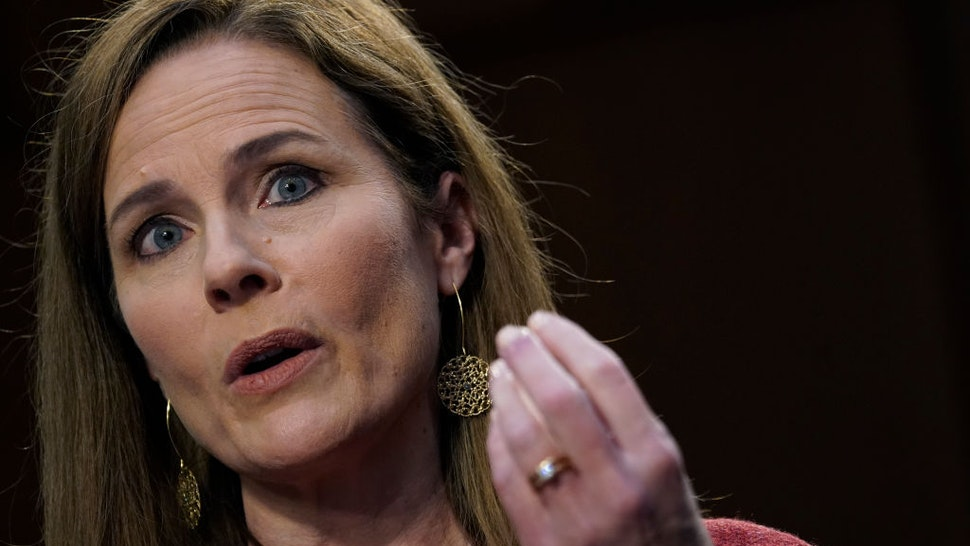 Supreme Court nominee Judge Amy Coney Barrett participates in the second day of her Senate Judiciary committee confirmation hearing on Capitol Hill on October 13, 2020 in Washington, DC.