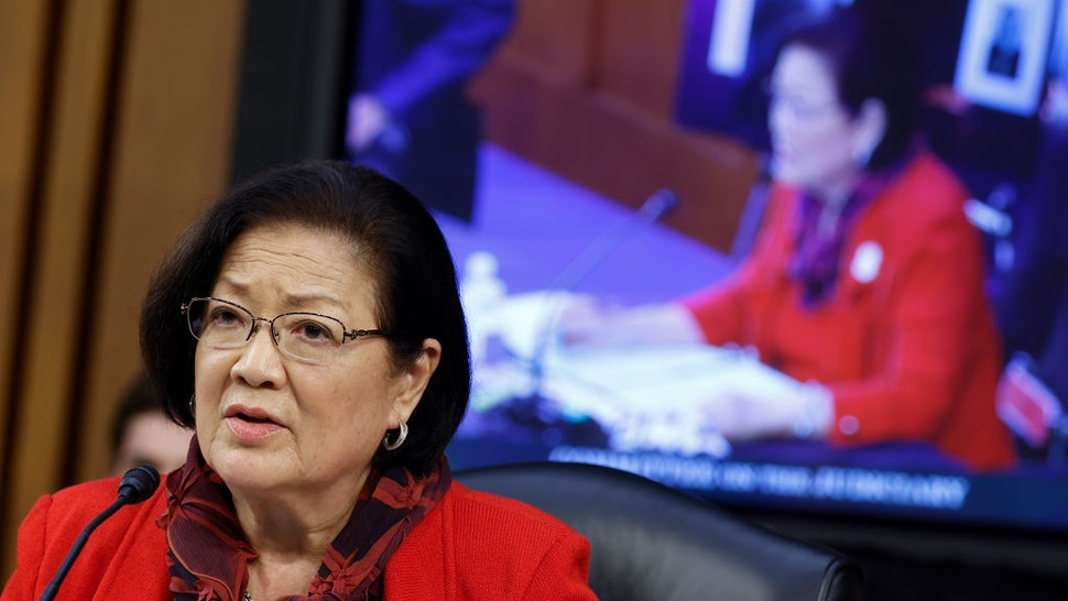 WASHINGTON, DC - OCTOBER 13: Senator Mazie Hirono (D-HI), speaks during the Senate Judiciary Committee confirmation hearing for Supreme Court nominee Judge Amy Coney Barrett on Capitol Hill on October 13, 2020 in Washington, DC. Barrett was nominated by President Donald Trump to fill the vacancy left by Justice Ruth Bader Ginsburg who passed away in September. (Photo by Samuel Corum/Getty Images)