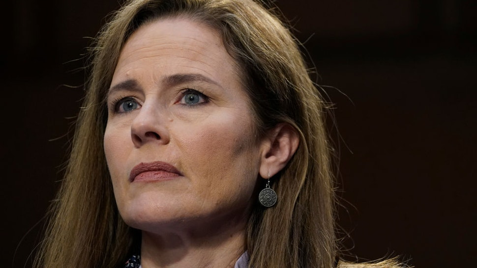 Supreme Court nominee Amy Coney Barrett participates in the third day of her Senate Judiciary Committee confirmation hearing on Capitol Hill on October 14, 2020 in Washington, DC.
