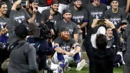 ustin Turner #10 and the Los Angeles Dodgers pose for a photo after defeating the Tampa Bay Rays 3-1 in Game Six to win the 2020 MLB World Series at Globe Life Field on October 27, 2020 in Arlington, Texas.