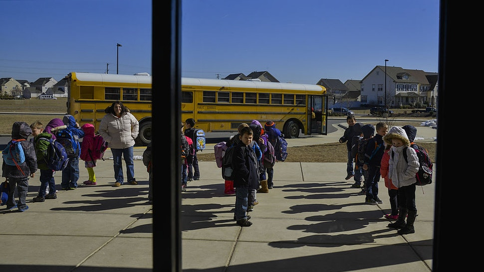 Kindergarteners prepare to leave Creighton's Corner Elementary School after a half day on Friday, February 28, 2014, in Ashburn, VA.