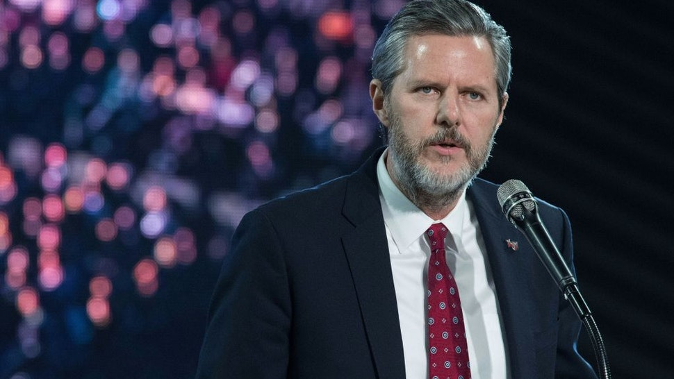 Liberty University president Jerry Falwell Jr. introduces US Republican presidential candidate Donald Trump at a rally at Liberty University, the world's largest Christian university, in Lynchburg, Virginia, on January 18, 2016.