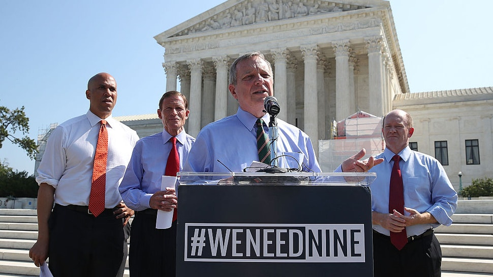 Sen. Dick Durbin (D-IL), (C), calls for Senate Judiciary conformation hearings for Supreme Court nominee Merrick Garland, during a news conference news conference in front of the US Supreme Court, September 7, 2016 in Washington, DC.