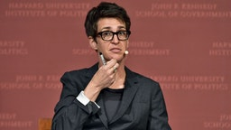 "Rachel Maddow speaks at the Harvard University John F. Kennedy Jr. Forum in a program titled ""Perspectives on National Security"" moderated by Rachel Maddow on October 16, 2017 in Cambridge, Massachusetts."