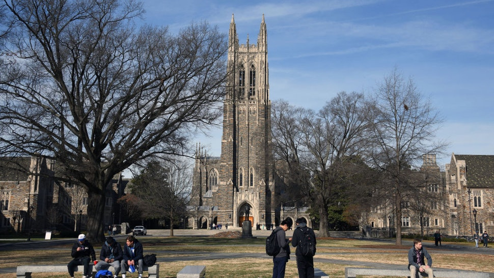 A general view of the Duke University Chapel on the campus of Duke University ahead of the game between the Virginia Cavaliers and the Duke Blue Devils on January 27, 2018 in Durham, North Carolina.