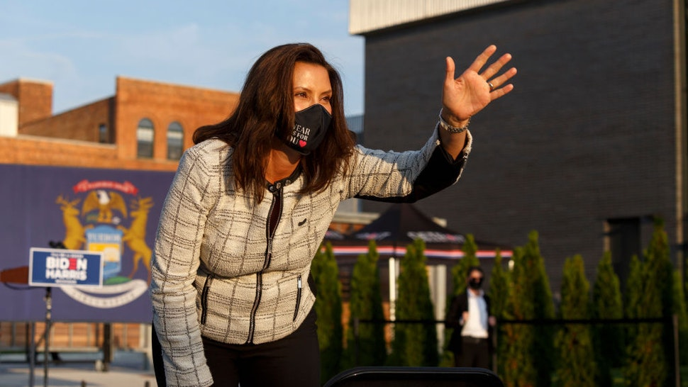 DETROIT, MI - SEPTEMBER 22: Governor Gretchen Whitmer waves to the crowd during a voter mobilization event on September 22, 2020 in Detroit, Michigan. With election day less than a month and a half away, Harris visits different cities in the swing state of Michigan. (Photo by Elaine Cromie/Getty Images)