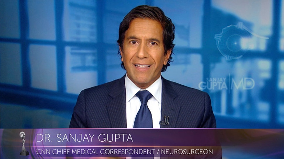 VARIOUS CITIES - SEPTEMBER 10: In this screengrab, Sanjay Gupta honors Frontline COVID-19 and BLM reporters at the 45th Anniversary Gracie Awards on September 10, 2020.
