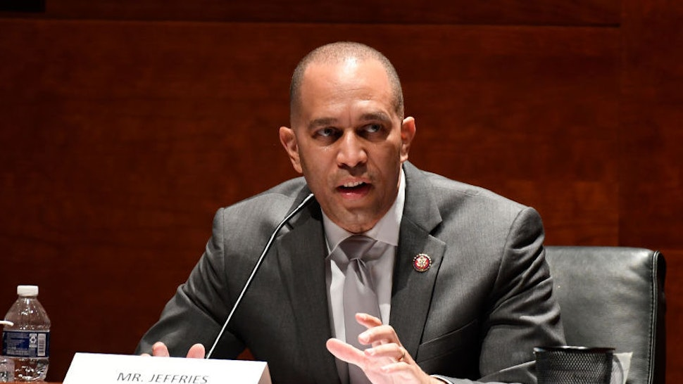 WASHINGTON, DC - JUNE 24: Rep. Hakeem Jeffries (D-NY) speaks during a House Judiciary Committee hearing on oversight of the Justice Department and a probe into the politicization of the department under Attorney General William Barr on Capitol Hill, June 24, 2020 in Washington, DC.
