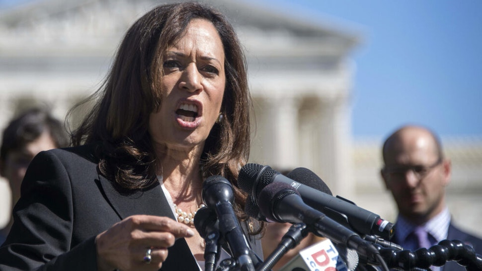 US Senator Kamala Harris, D-CA, speaks during a rally for the Dream Act (DACA) with a special focus on women, families, and the LGBTQ community at the US Capitol in Washington, DC, October 3, 2017.