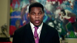 CHARLOTTE, NC - AUGUST 24: (EDITORIAL USE ONLY) In this screenshot from the RNC's livestream of the 2020 Republican National Convention, former NFL athlete Herschel Walker addresses the virtual convention on August 24, 2020. The convention is being held virtually due to the coronavirus pandemic but will include speeches from various locations including Charlotte, North Carolina and Washington, DC.