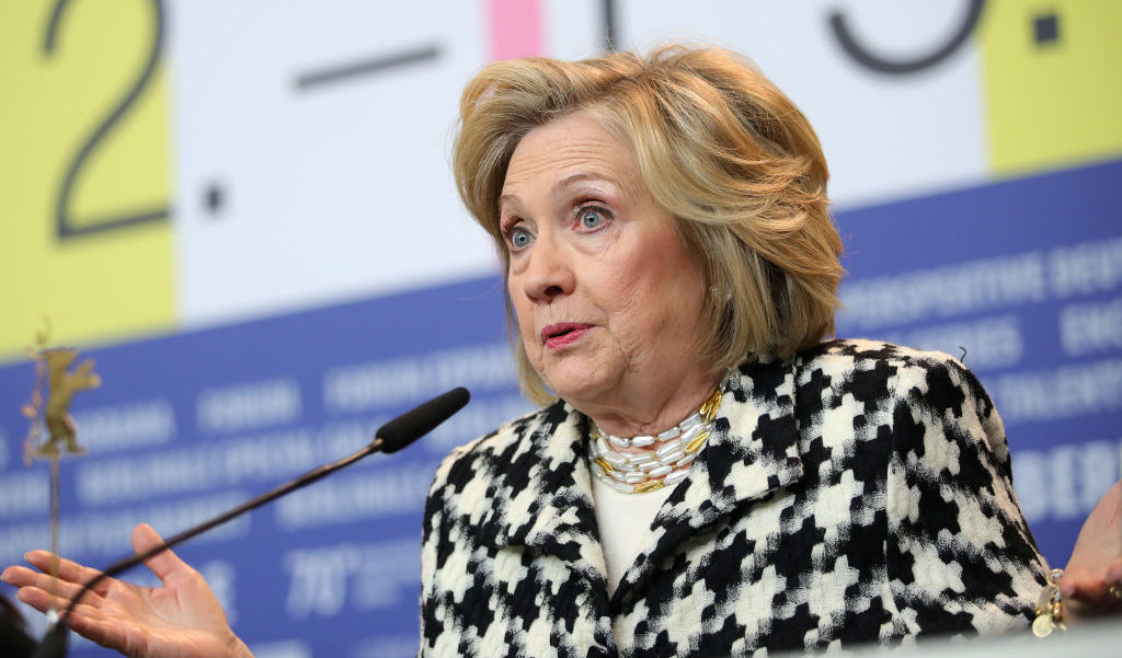 """BERLIN, GERMANY - FEBRUARY 25: Former US Secretary of State and First Lady Hillary Rodham Clinton on stage for the """"Hillary"""" press conference during the 70th Berlinale International Film Festival Berlin at Grand Hyatt Hotel on February 25, 2020 in Berlin, Germany. (Photo by Andreas Rentz/Getty Images)"""