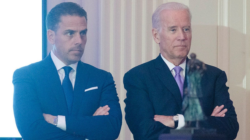 WASHINGTON, DC - APRIL 12: WFP USA Board Chair Hunter Biden introduces his father Vice President Joe Biden during the World Food Program USA's 2016 McGovern-Dole Leadership Award Ceremony at the Organization of American States on April 12, 2016 in Washington, DC. (Kris Connor/WireImage)