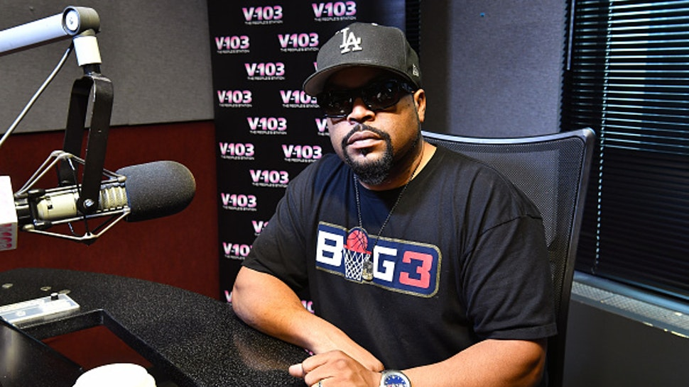 ATLANTA, GA - AUGUST 09: Rapper Ice Cube visits V-103 Atlanta Studios on August 9, 2018 in Atlanta, Georgia.