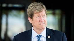 UNITED STATES - JUNE 13: Rep. Jason Lewis, R-Minn., leaves the House Republican Conference meeting at the Capitol Hill Club in Washington on Wednesday morning, June 13, 2018.
