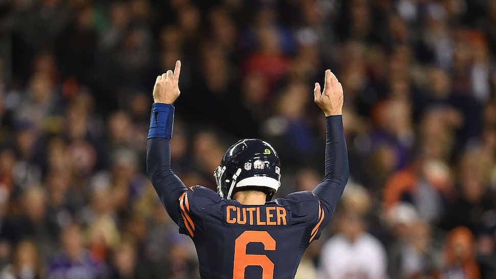 CHICAGO, IL - OCTOBER 31: Jay Cutler #6 of the Chicago Bears celebrates after a touchdown by Jordan Howard #24 (not pictured) during the second quarter against the Minnesota Vikings at Soldier Field on October 31, 2016 in Chicago, Illinois. (Photo by Stacy Revere/Getty Images)