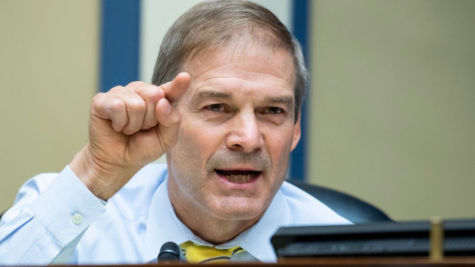 """UNITED STATES - AUGUST 24: Rep. Jim Jordan, R-Ohio, questions Postmaster General Louis DeJoy during the House Oversight and Reform Committee hearing titled """"Protecting the Timely Delivery of Mail, Medicine, and Mail-in Ballots,"""" in Rayburn House Office Building on Monday, August 24, 2020. (Photo By Tom Williams/CQ Roll Call/Pool)"""