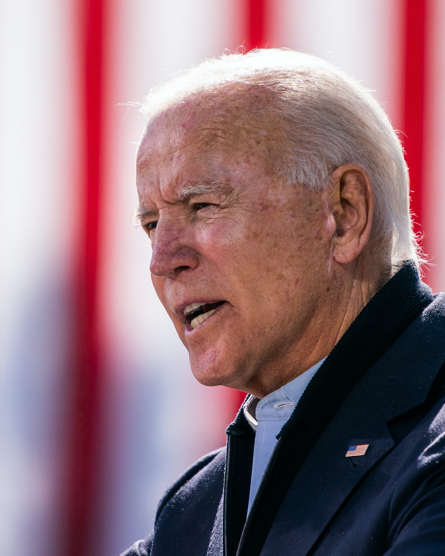 Presidential nominee Joe Biden speaks during a Voter Mobilization event at Riverside High School in Durham, North Carolina on October 18, 2020. (Photo by Demetrius Freeman/The Washington Post via Getty Images)