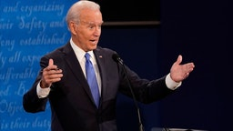 NASHVILLE, TENNESSEE - OCTOBER 22: Democratic presidential candidate former Vice President Joe Biden answers a question during the second and final presidential debate at Belmont University on October 22, 2020 in Nashville, Tennessee. This is the last debate between the two candidates before the election on November 3. (Photo by Morry Gash-Pool/Getty Images)