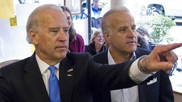 Democratic Presidential Campaign -- Pictured: (l-r) Senator and Vice Presidential nominee Joe Biden and brother Jim Biden choose their flavor at Ellen's Homemade Ice Cream in Charleston, WV on October 24, 2008 -- Photo by: Christina Jamison/NBC NewsWire