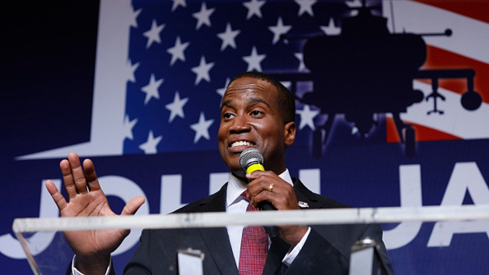 DETROIT, MI - AUGUST 7: John James, Michigan GOP Senate candidate, speaks at an election night event after winning his primary election at his business James Group International August 7th, 2018 in Detroit, Michigan. James, who has President Donald Trump's endorsement, will face Democrat incumbent Senator Debbie Stabenow (D-MI) in November.