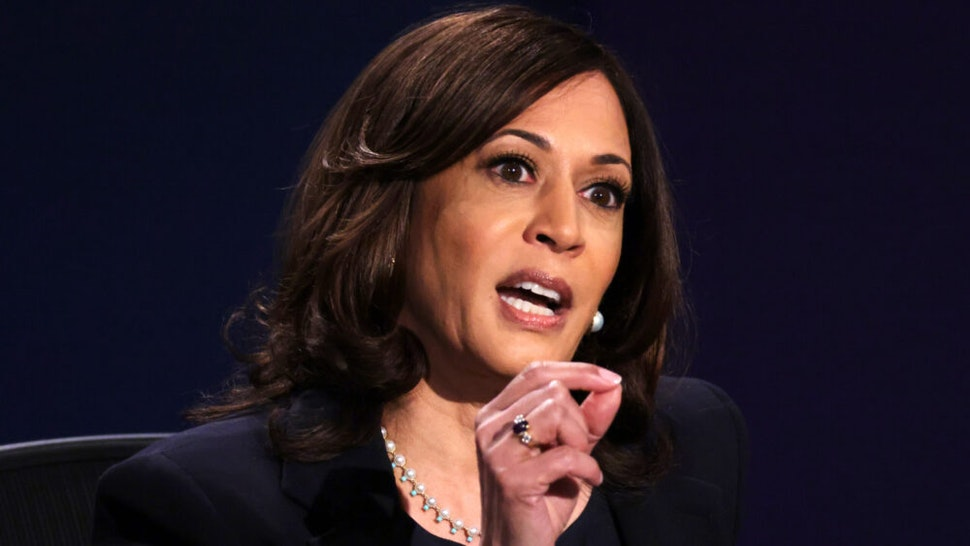 SALT LAKE CITY, UTAH - OCTOBER 07: Democratic vice presidential nominee Sen. Kamala Harris (D-CA) participates in the vice presidential debate against U.S. Vice President Mike Pence at the University of Utah on October 7, 2020 in Salt Lake City, Utah. The vice presidential candidates only meet once to debate before the general election on November 3.