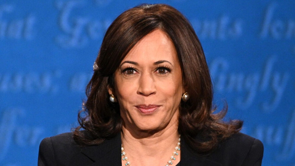 US Democratic vice presidential nominee and Senator from California, Kamala Harris participates in the vice presidential debate in Kingsbury Hall at the University of Utah on October 7, 2020, in Salt Lake City, Utah.