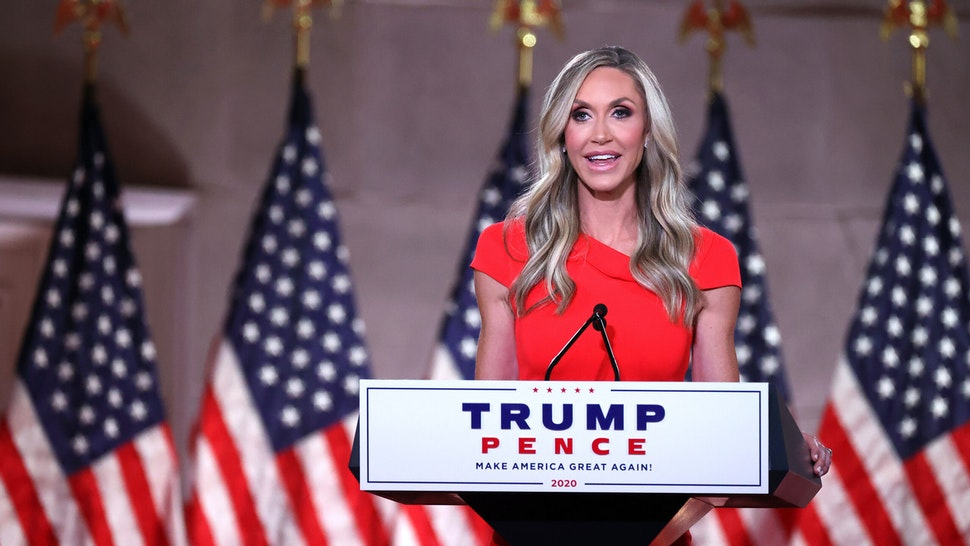 WASHINGTON, DC - AUGUST 26: Lara Trump, daughter-in-law and campaign advisor for U.S. President Donald Trump, pre-records her address to the Republican National Convention from inside an empty Mellon Auditorium on August 26, 2020 in Washington, DC. The novel coronavirus pandemic has forced the Republican Party to move away from an in-person convention to a televised format, similar to the Democratic Party's convention a week earlier.