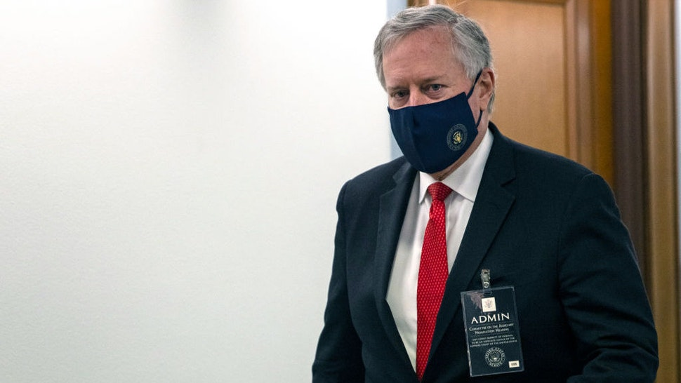 WASHINGTON, DC - OCTOBER 12: White House Chief of Staff Mark Meadows leaves the confirmation hearing for Judge Amy Coney Barrett to become an Associate Justice on Capitol Hill on October 12, 2020 in Washington, DC. Barrett was nominated by President Donald Trump to fill the vacancy left by Justice Ruth Bader Ginsburg who passed away in September. (Photo by Samuel Corum/Getty Images) *** Local Caption ***
