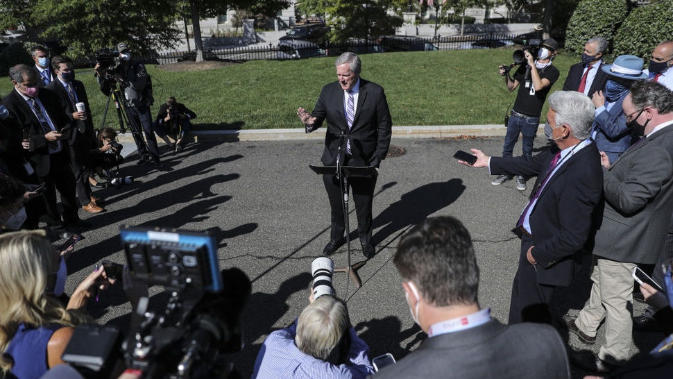 Mark Meadows, White House chief of staff, speaks with members of the media outside the West Wing of the White House in Washington, D.C., U.S., on Friday, Oct. 2, 2020. President Trump is experiencing mild symptoms and will remain on the job, Meadows told reporters. Photographer: Oliver Contreras/Bloomberg