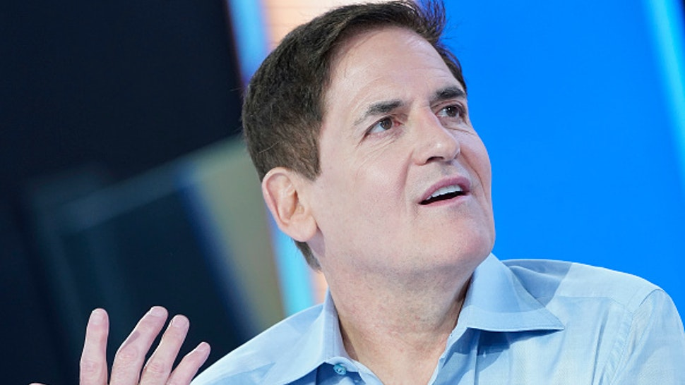 """NEW YORK, NEW YORK - NOVEMBER 14: (EXCLUSIVE COVERAGE) Mark Cuban visits """"Mornings With Maria"""" at Fox Business Network Studios on November 14, 2019 in New York City."""
