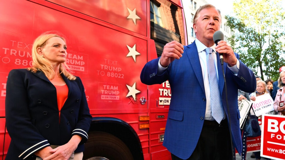 Republican celebrities Mark and Patricia McCloskey visit the republican HQ with Team Trump Bus on September 30, 2020 in Scranton, Pennsylvania.