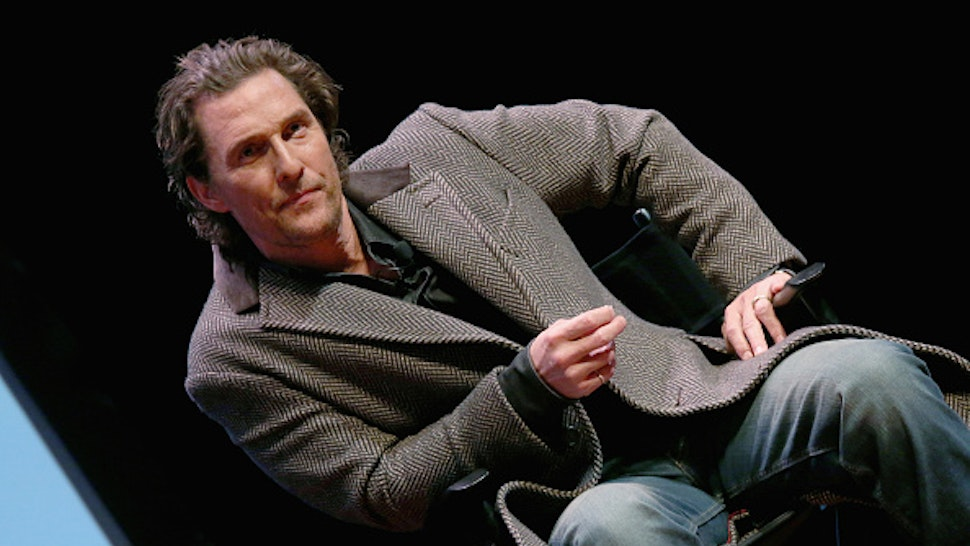 """AUSTIN, TEXAS - JANUARY 21: Matthew McConaughey participates in a Q&A after a special screening of his new film """"The Gentlemen"""" at Hogg Memorial Auditorium at The University of Texas at Austin on January 21, 2020 in Austin, Texas."""