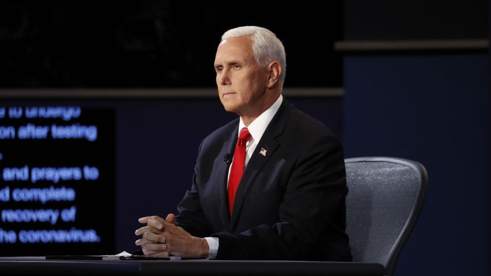 U.S. Vice President Mike Pence waits to begin the U.S. vice presidential debate at the University of Utah in Salt Lake City, Utah, U.S., on Wednesday, Oct. 7, 2020. Pence and Harris face off in their first and only debate less than a month before the election, with coronavirus adding a sudden twist to the event. Photographer: Kim Raff/Bloomberg