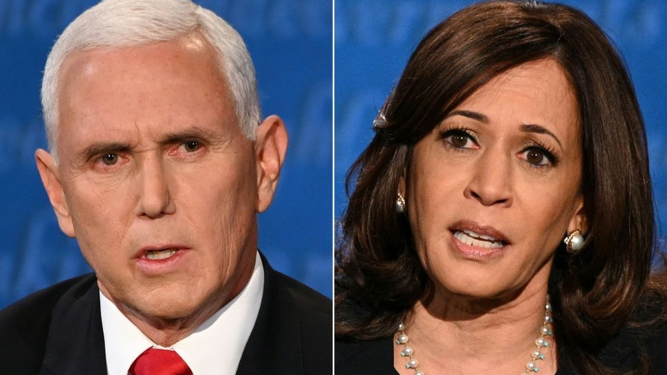 This combination of pictures created on October 07, 2020 shows US Vice President Mike Pence and US Democratic vice presidential nominee and Senator from California Kamala Harris during the vice presidential debate in Kingsbury Hall at the University of Utah on October 7, 2020 in Salt Lake City, Utah. (Photos by Eric BARADAT and Robyn Beck / AFP)