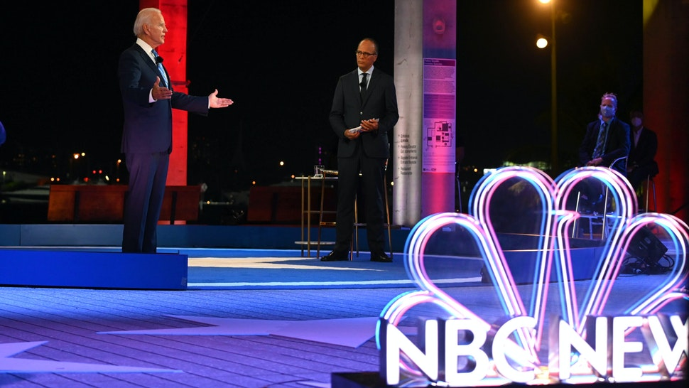 Democratic presidential nominee and former Vice President Joe Biden participates in an NBC Town Hall event hosted by Lester Holt at the Perez Art Museum in Miami, Florida on October 5, 2020.