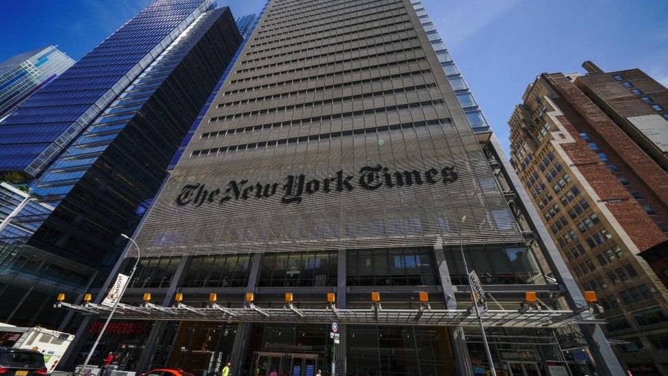 NEW YORK, UNITED STATES - 2020/08/20: A view of The New York Times Building Headquarters.