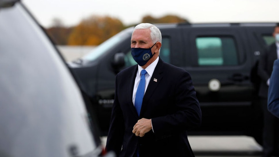 US Vice President Mike Pence arrives at Gerald Ford Airport in Grand Rapids, Michigan, on October 14, 2020.
