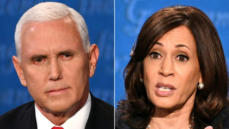 (COMBO) This combination of pictures created on October 07, 2020 shows US Vice President Mike Pence and US Democratic vice presidential nominee and Senator from California Kamala Harris during the vice presidential debate in Kingsbury Hall at the University of Utah on October 7, 2020, in Salt Lake City, Utah.