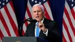 "CHARLOTTE, NORTH CAROLINA - AUGUST 24: Vice President Mike Pence speaks on the first day of the Republican National Convention at the Charlotte Convention Center on August 24, 2020 in Charlotte, North Carolina. The four-day event is themed ""Honoring the Great American Story."""